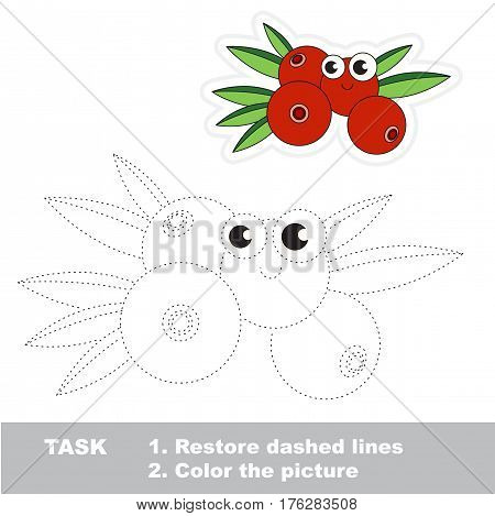 Page to be traced. Easy educational kid game. Simple game level. Gaming and education. Tracing worksheet for Cranberry.
