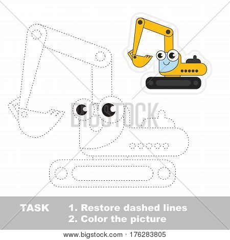 Funny excavator in vector to be traced. Easy educational kid game. Simple level of difficulty. Restore dashed line and color the picture. Trace game for children.