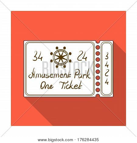 Ticket for passage to the territory of the amusement park.Amusement park single icon in flat style vector symbol stock web illustration.