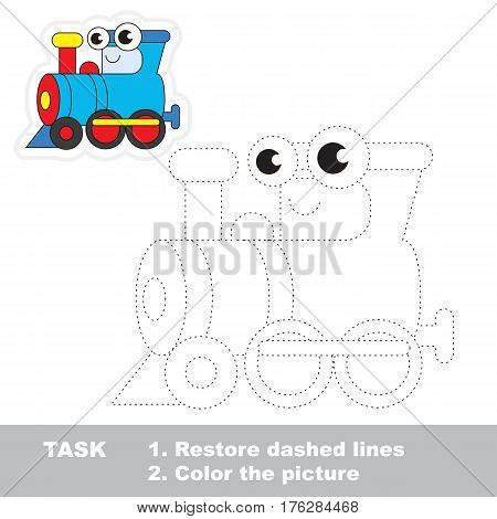 Funny locomotive in vector to be traced. Easy educational kid game. Simple level of difficulty. Restore dashed line and color the picture. Trace game for children.