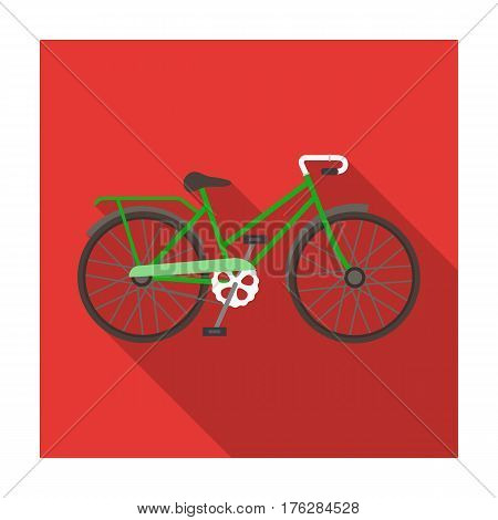 Green female bicycle frame with a scythe.Different Bicycle single icon in flat style vector symbol stock web illustration.