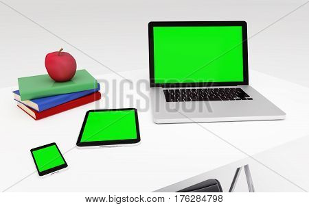 Technologic Devices With Empty Screen On Desktop