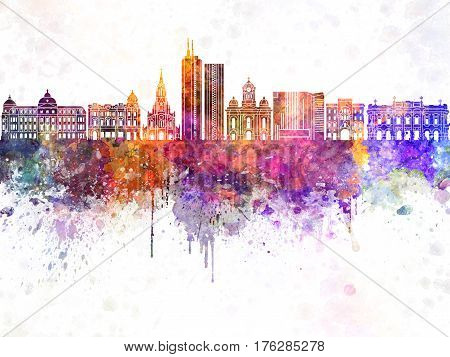 Santiago de Cali skyline in watercolor background