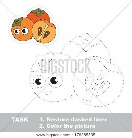 Funny persimmon in vector to be traced. Easy educational kid game. Simple level of difficulty. Restore dashed line and color the picture. Trace game for children.