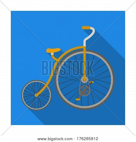 Vintage bicycle. The first bicycle. Huge and small wheel.Different Bicycle single icon in flat style vector symbol stock web illustration.