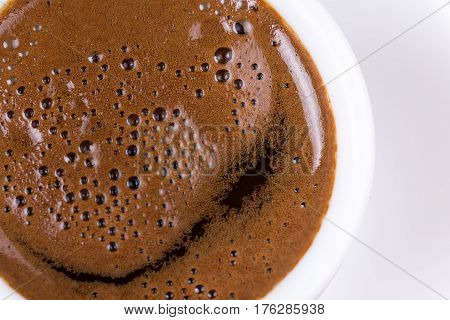 Close Macro View Of Cup Of Coffee Ballons