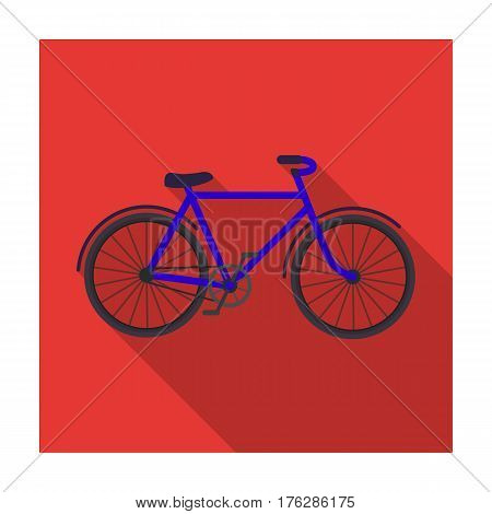 Walking bicycle with large shields and curves driving. Economical transport.Different Bicycle single icon in flat style vector symbol stock web illustration.
