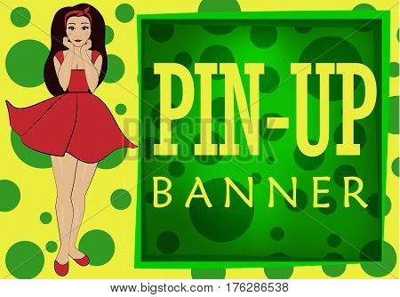 Yellow-green banner in the style of pin-up image of a beautiful girl in a short dress. Poster with space for text