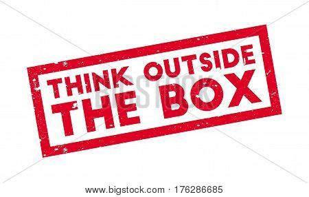 Think Outside The Box rubber stamp. Grunge design with dust scratches. Effects can be easily removed for a clean, crisp look. Color is easily changed.