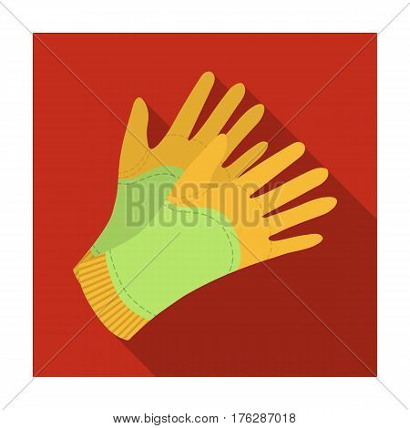 Garden gloves to work with the land in the garden. Protective gardener clothing.Farm and gardening single icon in flat style vector symbol stock web illustration.