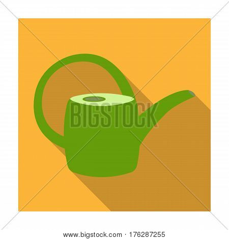 Green plastic watering can for watering flowers in the garden.Farm and gardening single icon in flat style vector symbol stock web illustration.