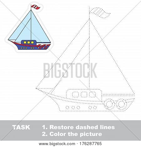 Small yacht in vector to be traced. Restore dashed line and color the picture. Tracing game for preschool children, easy game level.