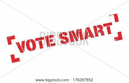 Vote Smart rubber stamp. Grunge design with dust scratches. Effects can be easily removed for a clean, crisp look. Color is easily changed.