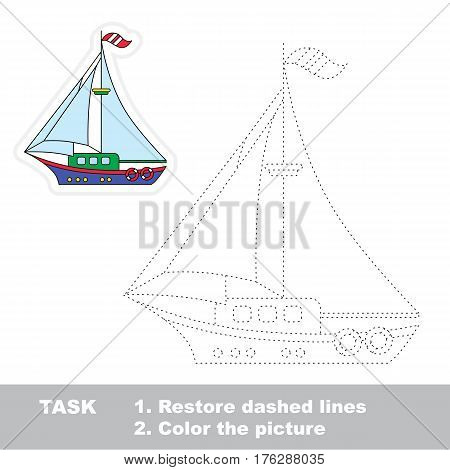 The boat in vector to be traced. Restore dashed line and color the picture. Tracing game for preschool children, easy game level.