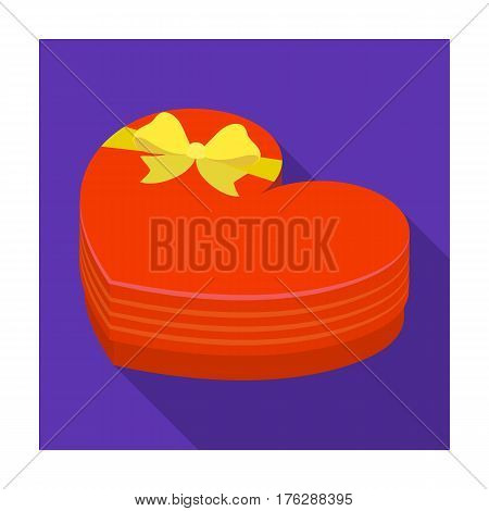 A box in the form of a red heart. A gift to a loved one.Gifts and Certificates single icon in flat style vector symbol stock web illustration.