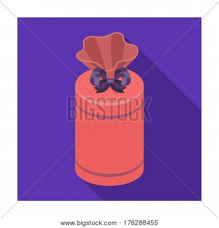 Gift wrap in the form of a huge candy in a wrapper.Gifts and Certificates single icon in flat style vector symbol stock web illustration.