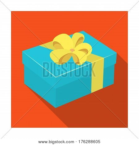 Blue gift for a holiday with an yellow bow.Gifts and Certificates single icon in flat style vector symbol stock web illustration.
