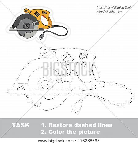 Page to be traced. Easy educational kid game. Simple game level. Tracing worksheet for Circular Saw.