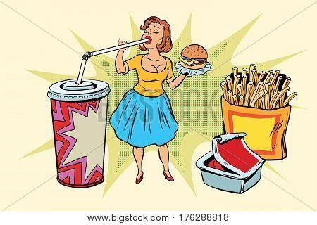 Pop art woman and fast food. Retro comic book style retro illustration color vector