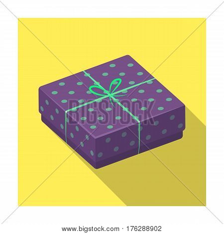 Purple gift for polka dots. Gift wrap on holiday.Gifts and Certificates single icon in flat style vector symbol stock web illustration.