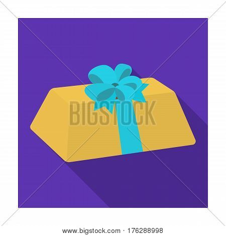 A flesh-colored gift with a red bow. Sweet present.Gifts and Certificates single icon in flat style vector symbol stock web illustration.