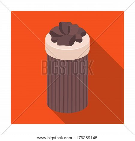 Brown box in the form of a cylinder. Gift wrapping for coffee.Gifts and Certificates single icon in flat style vector symbol stock web illustration.