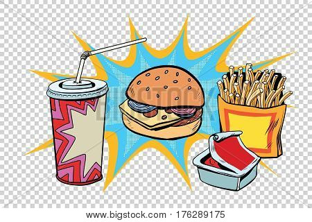 Fast food set Burger fries drink and sauce. Retro comic book style pop art retro illustration color vector