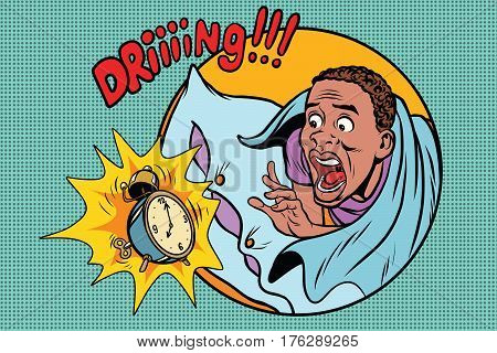 Man wakes up alarm clock. Retro comic book style pop art retro illustration color vector. African American people