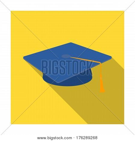 Blue beret with a rope in the center. Cap student . School uniform .School And Education single icon in flat style vector symbol stock web illustration.