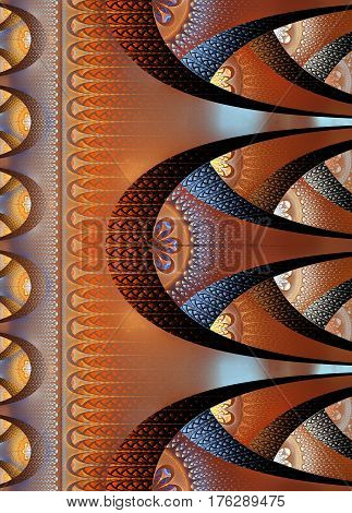 Notebook cover with beautiful brown pattern in fractal design.