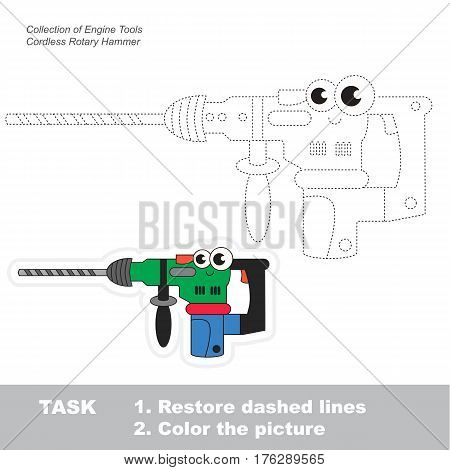 Page to be traced. Easy educational kid game. Simple game level. Object from set of Engine Tools. Tracing worksheet for Funny Cordless Rotary Hammer
