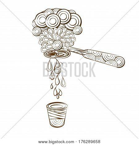 line art design coloring page espresso shot coffee