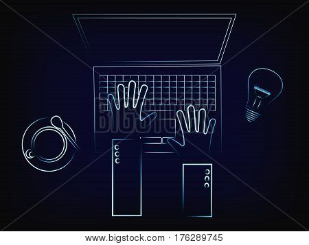 vector of user's hands typing on a laptop on his desk next to coffee and a humourous idea lightbulb metaphor with mesh background