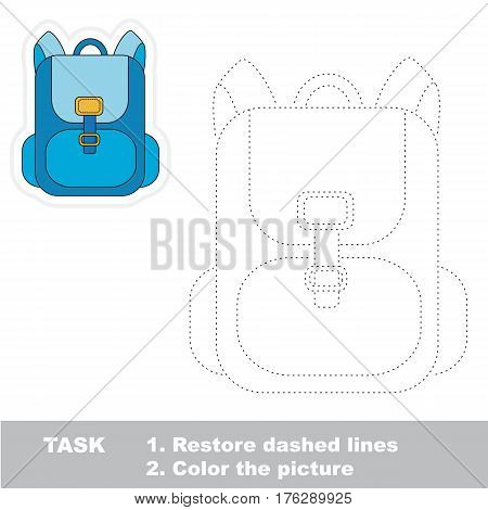 Blue school bag in vector to be traced. Restore dashed line and color the picture. Trace game for children.