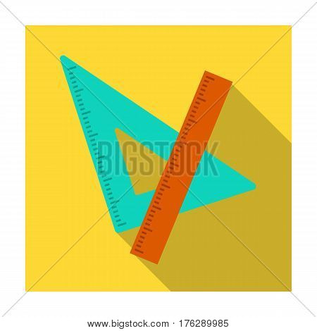 Ruler and triangle. Devices for school drawing.School And Education single icon in flat style vector symbol stock web illustration.