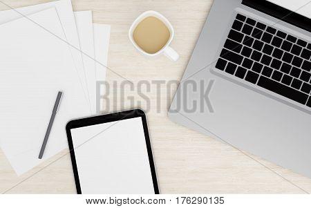 Digital Tablet With Empty Screen On Desktop