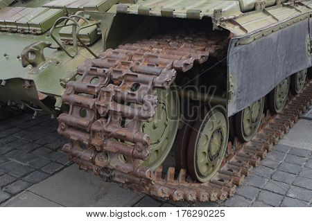 Military exhibition of military tanks in the Ukraine