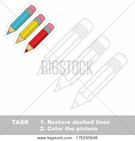 Three pencils in vector to be traced. Restore dashed line and color the picture. Tracing game for preschool children, easy game level.