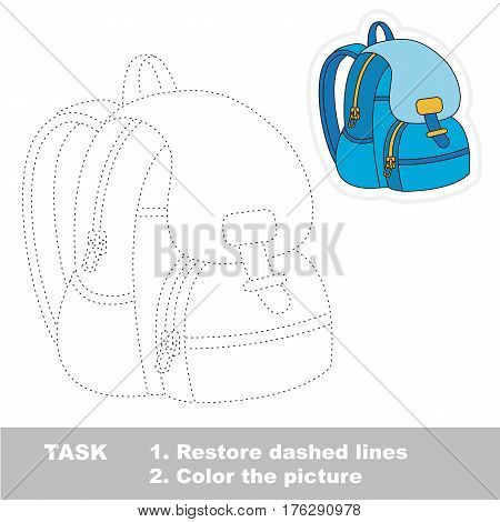 School bag in vector to be traced. Restore dashed line and color the picture. Tracing game for preschool children, easy game level.