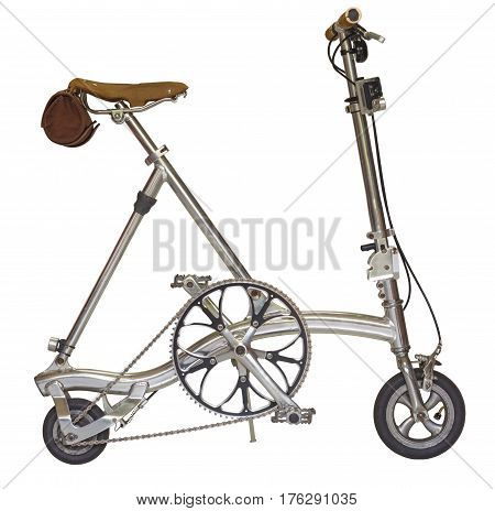 close up Chrome color bicycle small wheel isolated on a white background with clipping path