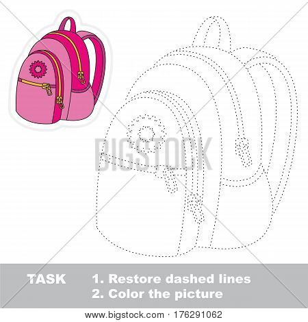 Pink backpack in vector to be traced. Restore dashed line and color the picture. Tracing game for preschool children, easy game level.