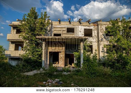 Ghost-town, abandoned houses, summer, Russia, Samara region