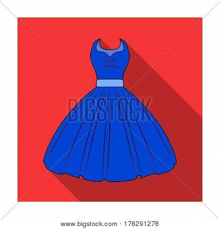 White fluffy wedding dress for a girl. Wedding wear.Women clothing single icon in flat style vector symbol stock web illustration.