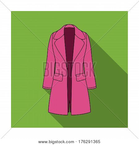 Blue female restrained coat buttoned. Women s outerwear.Women clothing single icon in flat style vector symbol stock web illustration.