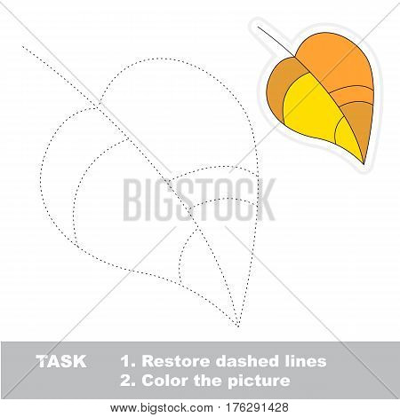 Yellow leaf in vector to be traced. Restore dashed line and color the picture. The tracing game for preschool children with easy game level.