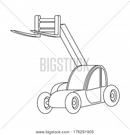 The car lift for loading cargo into the truck for transportation.Agricultural Machinery single icon in outline style vector symbol stock web illustration.