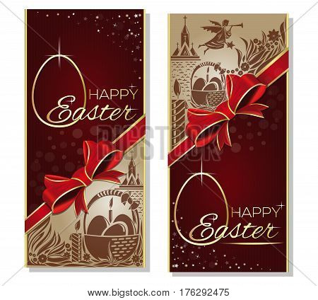 Holiday Background for Easter with red ribbon, bow, a basket with Easter eggs, silhouette of angel and church. Happy Easter. Gift card, greeting card for Easter. Vector flyer template