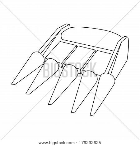 The yellow nozzle on a tractor with a cone-shaped spikes. The nozzle of agricultural machinery for the harvest.Agricultural Machinery single icon in outline style vector symbol stock web illustration.