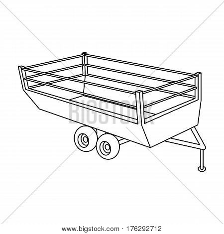 Grey trailer on wheels for transportation of farm animals.Agricultural Machinery single icon in outline style vector symbol stock web illustration.