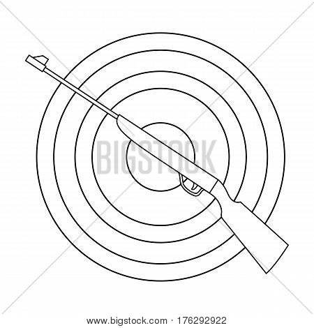 Weapon and target. Shooting gallery in an amusement park.Amusement park single icon in outline style vector symbol stock web illustration.